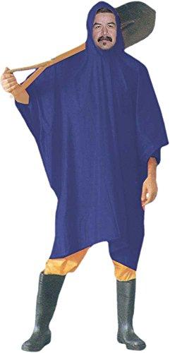 RAIN GUARD: Adult Sized 10Mil Blue Vinyl Rain Poncho with Hood