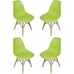 DSW Lime Green Plastic Shell Chair with Wood Eiffel Legs Set of 4