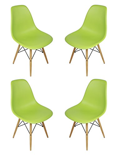 DSW Lime Green Plastic Shell Chair with Wood Eiffel Legs Set of 4 Review