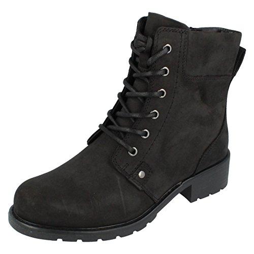 Clarks Orinoco Spice - Black Warmlined Leather Womens Boots 6.5 UK E