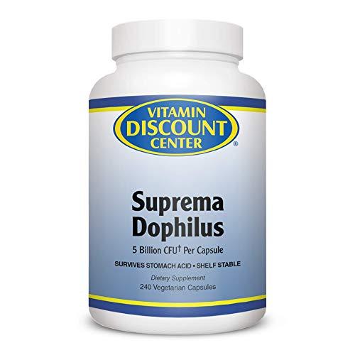 Vitamin Discount Center, Suprema Dophilus Probiotic Blend Dietary Supplement, 5 Billion CFU Per Capsule, Survive Stomache Acid, Immune Support, 240 Vegetarian Capsules