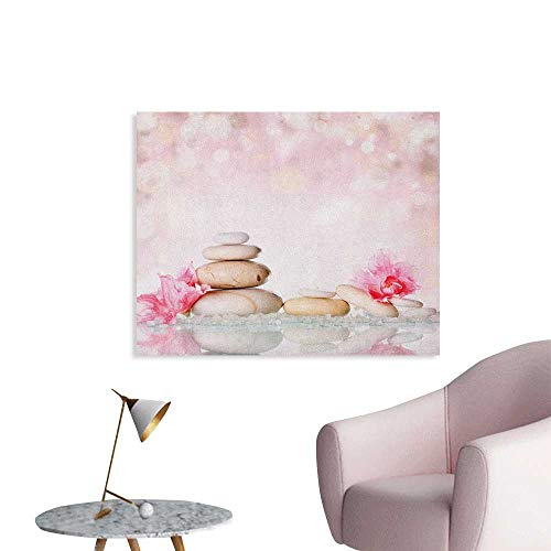 Anzhutwelve Spa Art Decor Decals Stickers Bohemian Zen Stones and Soft Petals Therapy Tradition Chakra Yoga Asian Picture The Office Poster Pale Pink Peach W28 xL20 -