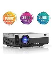 Proyector Full HD, Beamerking LED Proyector 1080P Resolución nativa de 1920 x 1080 Videoproyector Portátil 3600 Lúmenes HDMI/VGA/USB/ AV, Proyector Cine en casa