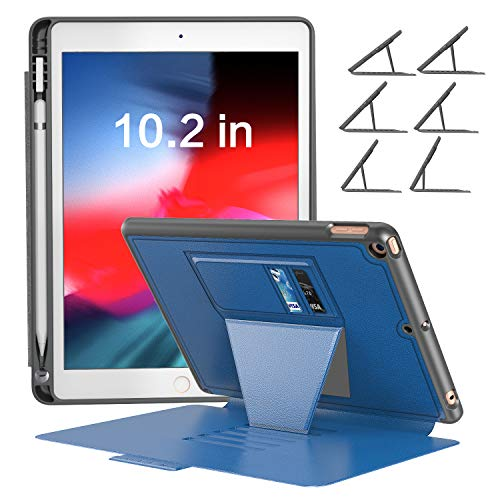 BLAVOR iPad 7th Generation Cover iPad 10.2 inch Protective Case with Apple Pencil Holder, 6 Angles Magnetic Stand, Card Pockets and Auto Sleep/Wake(Black)