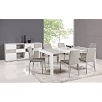 Chintaly Imports White/Gray Parson Extendable 5-Piece Dining Set