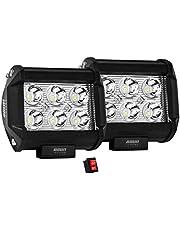 2 piezas de faros en LED con luz concentrada de alta intensidad de 18w con 9 led y función estrobo, sirve como luz de respaldo para motos, motocicletas, carros, autos, camiones, camionetas, OSUN