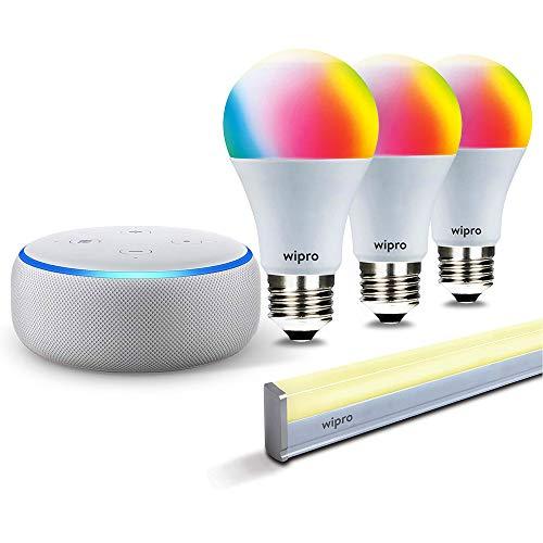 Smart lighting bundle: 1 Echo Dot (White) + 3 Wipro 9W color bulb (screw type socket) + 1 Wipro smart batten/tubelight
