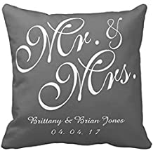 Gray White Mr And Mrs Wedding Pillow Case
