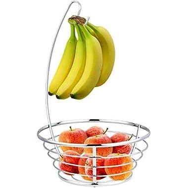 Home Basics Fruit Tree Basket Bowl with Banana Hanger, Chrome Finish