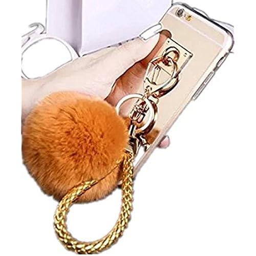 Galaxy S7 Ring bracket Case,FreeAir Luxury Metal Buckle Rabbit Fur Puffer Ball Tassel Pendant Case With Wrist Sales