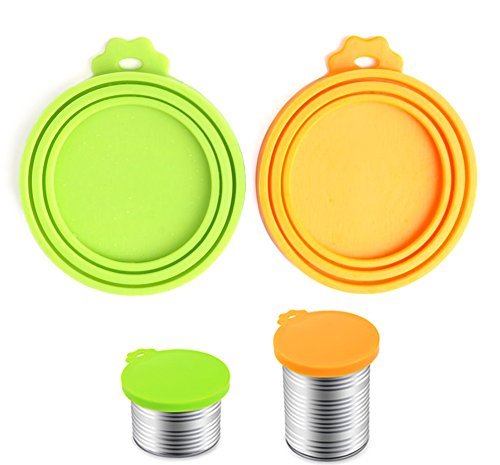 Comtim Pet Food Can Cover Silicone Can Lids for Dog and Cat Food(Universal Size,One fit 3 Standard Size Food Cans),Green and Orange