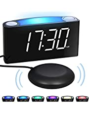 """Mesqool 7"""" Digital Alarm Clock, 7 Colored Night Light, Large LED Digits with Full Dimmer, USB Chargers, 12/24 Hour, Loud Alarm, Outlet Powered for Heavy Sleepers, Bedroom, Home, Kitchen, Desk, Office, Travel, Kids, Elders"""