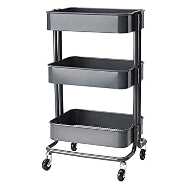 RASKOG Home Kitchen Bedroom Storage Utility Cart, Dark Gray
