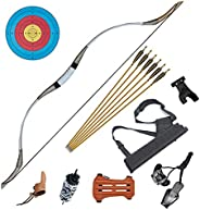 IRQ Traditional Longbow Set 30-65LB- Handmade Cow Leather and Wooden Horsebow One-Piece Archery Hunting Recurv