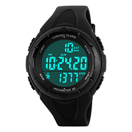 Digital Watches Outdoor Sport Waterproof Multi-Function Swimming Wistwatches with Alarm Stopwatch Watches Black