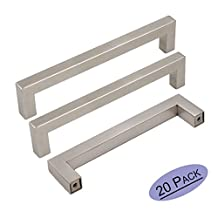20Pack Goldenwarm Brushed Nickel Square Bar Cabinet Pull Drawer Handle Stainless Steel Modern Hardware for Kitchen and Bathroom Cabinets Cupboard, Center to Center 5in(128mm)