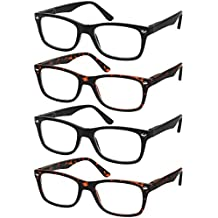 adffcac3e6d Reading Glasses Set of 4 Black Quality Readers Spring Hinge Glasses for  Reading for .