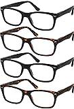 Reading Glasses Set of 4 Black Quality Readers