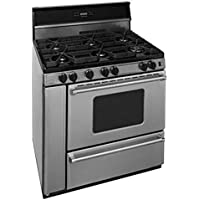 Premier P36S3482PS 36 Pro Series Gas Range with 6 Sealed Top Burners Separate Broiler Compartment 17 000 BTU Oven Burner Heavy Duty Cast Aluminum Griddle Storage Compartment and In