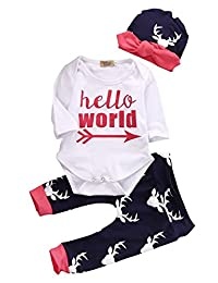 3Pcs Infant Newborn Baby Boys Girls HELLO WORLD Romper Tops+Pants Clothes Outfit Sets