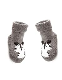 DierCosy 14CM Baby Anti-slip Socks Boots Breathable Cotton Shoes Cartoon Slipper Socks for Kids, Toddlers, Newborns-Gray BabyProducts