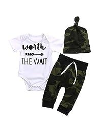 Scfcloth 3pcs Newborn Baby Boys Letter Print Romper+Camouflage Pants+Hat Outfits Set