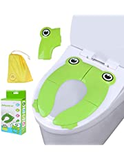 Travel Folding Portable Potty Training Toilet Seat Cover Liner Upgrade Non Slip Silicone Pads with Carry Bag for Babies, Toddlers and Kids