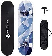 "METROLLER Skateboards, 31""x 8"" Complete Standard Skate Boards for Beginner, Double Kick Concave Skat"