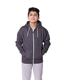 Kids Boys Girls Plain Fleece Hoodie Full length Sleeve Sweatshirt Top Age 5-13 Years