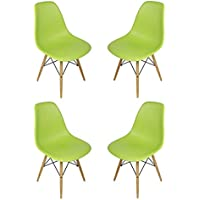 Ariel DSW Lime Green Plastic Shell Chair with Wood Eiffel Legs Set of 4