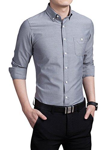 chouyatou Men's Basic Collared Long Sleeve Dress Shirt One-Pocket (Medium, Gray) ()