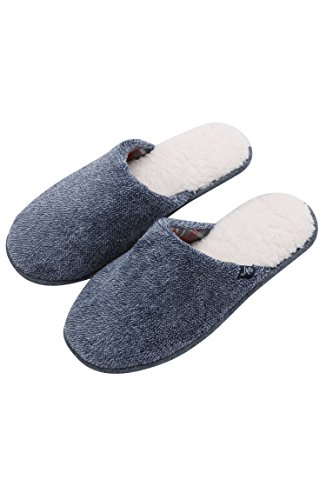 Jachs Mens Sherpa House/Bedroom Slippers, Loungewear For Men Marled Navy