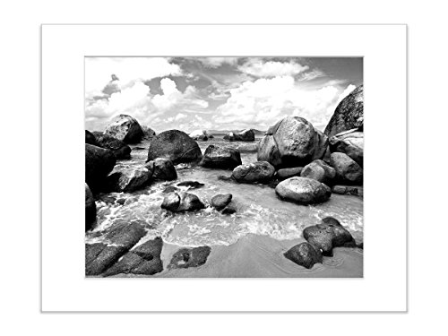 5x7 Inch Matted Beach Photography Print Black and White Tropical Coastal Art by Catch A Star Fine Art Photography