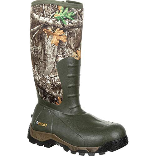 ROCKY Men's Sport Pro Rubber 1200G Insulated Waterproof Outdoor Boot Knee High, Mossy Oak Break Up Country, 11 M US
