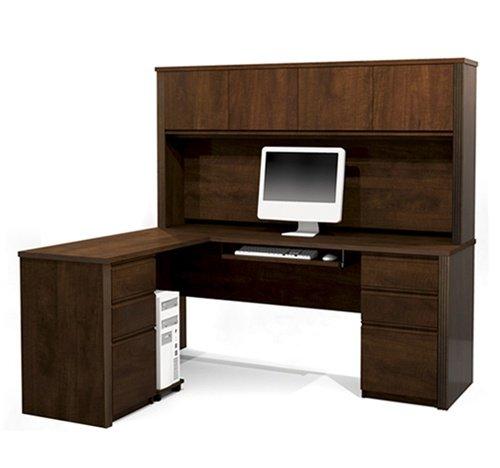 (Prestige L-shaped Corner Computer Desk with Hutch in Chocolate)
