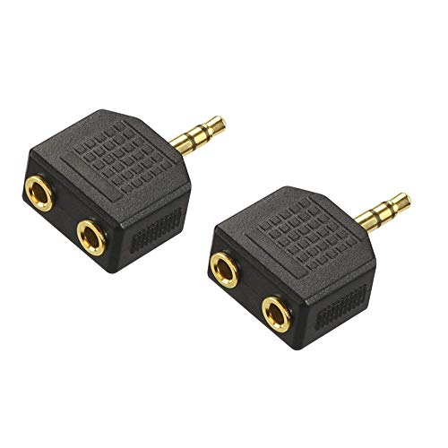 (VCE 2-Pack Gold Plated 3.5mm Male to Dual 1/8 Inch Female Stereo Jack Adapter Y Splitter Headphone Converter )