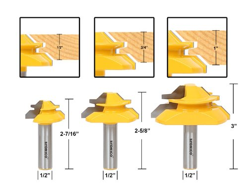 Yonico 15334 Lock Miter 45-Degree Glue Joint Router Bits 12-Inch Shank Set of 3