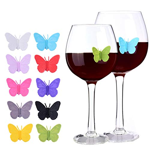 - Wine Glass Markers Drink Charms Multi-colored Butterfly Tags with Magnetic Silicon Suction Cup Holiday Birthday Wedding Cocktail Party Decoration Supplies 10 pcs Set Reusable-MSL123