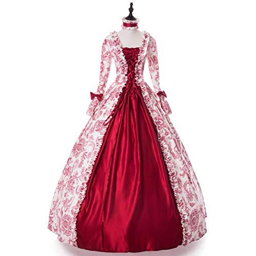 (Colonial Georgian Penny Dreadful Victorian Dress Gothic Period Ball Gown Reenactment Theater Costumes (3XL, Red-1))