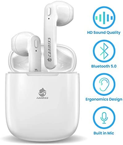 Canmixs True Wireless Earbuds,Gym Blue-Tooth Earphones for Running T12 TWS Wireless Earbuds Micro Earpiece with Charging Case Cordless in-Ear Stereo Headphones for iPhone Android