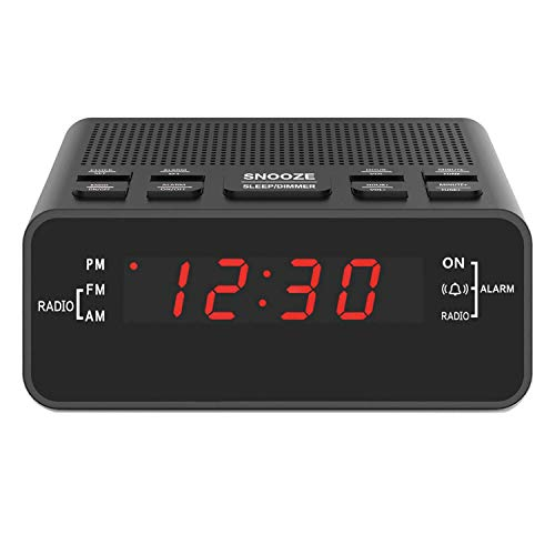 Digital Alarm Clock Radio, Small Alarm Clocks for Bedrooms with AM/FM Sleep Timer Radio, 0.6 Red Digits LED Dimmer Display, Easy Snooze -Outlet Powered (Black-Red)