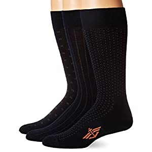 Dockers Men's 3 Pack Cushion Dress - Ultimate Fit Square Dobby Crew Socks, Navy, Sock Size:10-13/Shoe Size: 6-12