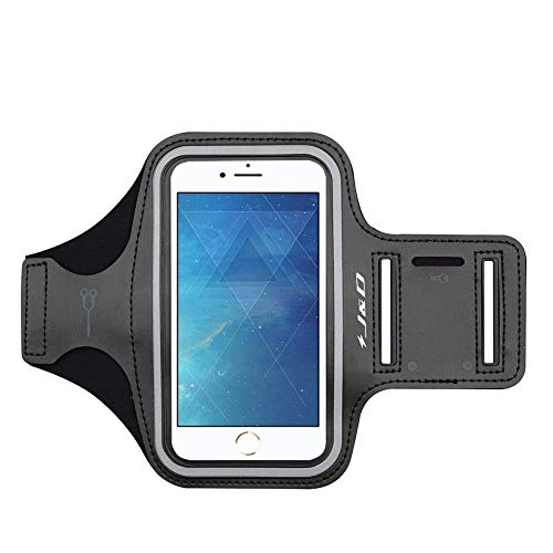 J&D Armband Compatible for iPhone 7 Armband, Sports Armband with Key Holder Slot for Apple iPhone 7 Running Armband, Perfect Earphone Connection While Workout - Black