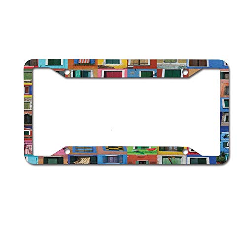 Dinzisalugg Custom Aluminum Metal License Plate Frame Tag Holder Cute,Mediterranean Village Colorful Painted Rustic Windows Tuscan Collage Italy Art License Plate Frame 4 Holes and Screws