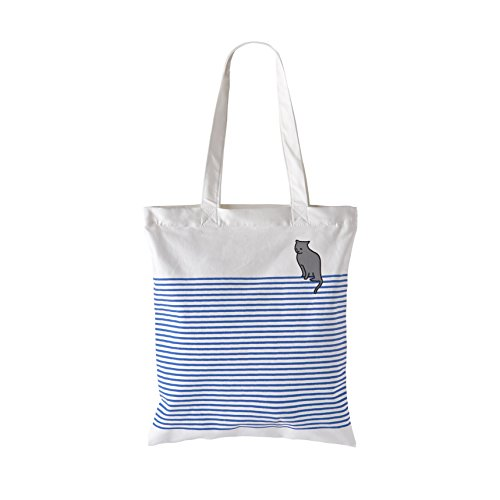 Waitworth Out of the Blue Cotton Canvas Tote Bag Stylish Casual Shoulder Bag with Zipper and Pocket for Shopping Travel and School Work Blue Striped Eco-Friendly (Bluecat)