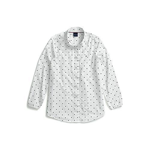 Tommy Hilfiger Women's Adaptive Shirt with Magnetic Buttons, White/Navy, Large