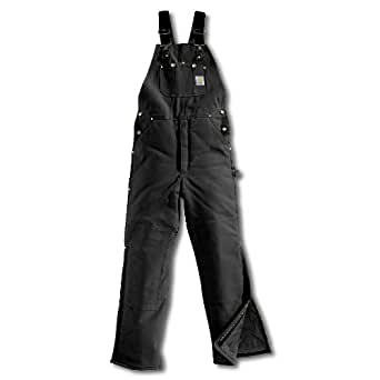 Carhartt Men's Duck Bib Overall - Arctic Quilt Lined - Black 34x32