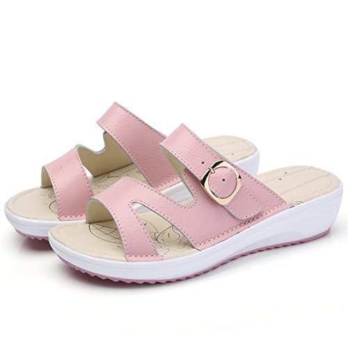 Open On Women Pink HKR Shoes 859 Sandals Heel Toe Summer Mid Slip Slide Leather Platform E6XEqf1nx