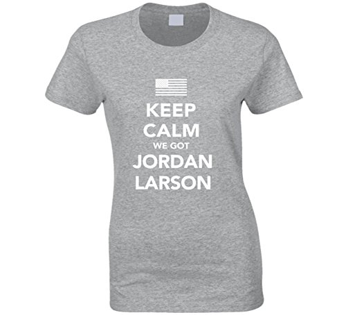 Jordan Larson Keep Calm USa 2016 Olympics Volleyball Ladies T Shirt 2XL Sport Grey by Mad Bro Tees