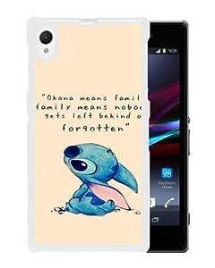 Sony Xperia Z1 case,Unique Design Lilo And Stitch White cell phone case for Sony Xperia Z1